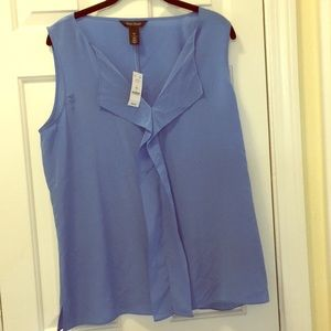 WHBM light blue silk sleeveless blouse